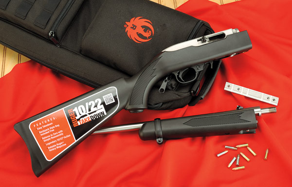 Ruger has just introduced its 10/22 Takedown, which breaks down into two sections that fit