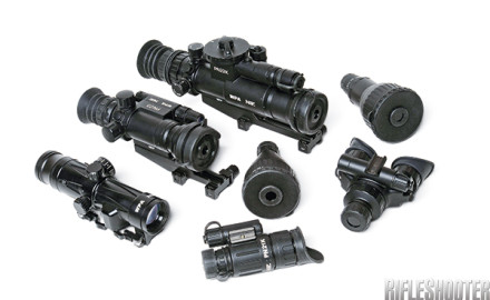 Wolf's optics lineup includes day and night optics. Clockwise from top: PN22K day/night sight,