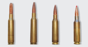 """L.-r.: 6.5x54 Mannlicher Schoenauer, 6.5x55 Swedish Mauser, .260 Rem., 6.5 Creedmoor. Today the 6.5x55 is the only """"old"""" 6.5mm cartridge with a significant following. It has tradition, but modern short-cased 6.5mms are more efficient and generally will be more accurate."""