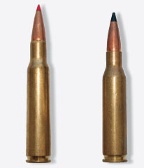 The 7x57 Mauser (l.) and the 7mm-08 Remington are ballistic twins. The 7x57 has nostalgia and tradition, but the 7mm-08 is certainly much more popular and available today.
