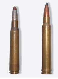 The European 8x68S (l.) is a ballistic twin to the 8mm Rem. Mag. Unbelted with a shorter case, the 8x68S is probably the better cartridge, but it's almost unavailable in North America.
