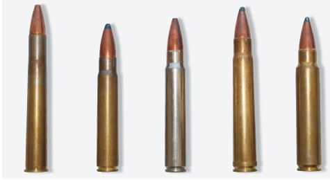 L.-r.: 9.3x74R, 9.3x62 Mauser, .370 Sako Mag., .375 H&H, .375 Ruger. The 9.3mm cartridges provide viable alternatives to the .375s. Although it's often said the .375 is the legal minimum for African dangerous game, the actual legal minimum is more commonly 9.3mm.