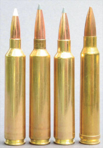 From l: .26 Nosler, .28 Nosler, .30 Nosler and .300 Win. Mag. The .30 Nosler is actually a tiny bit shorter than its stablemates, but its powder capacity holds two grains of water more than the Winchester magnum.