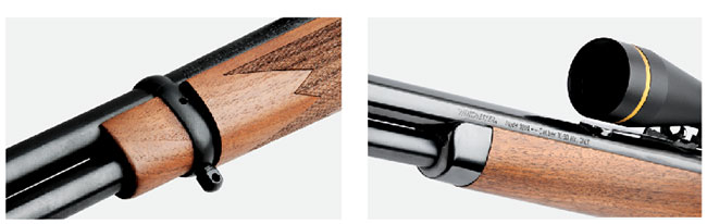 The Marlin (l.) and Mossberg guns have checkered wood and barrel bands on their fore-ends while the Winchester's (r.) wood is not checkered and the fore-end is tipped with a steel cap.