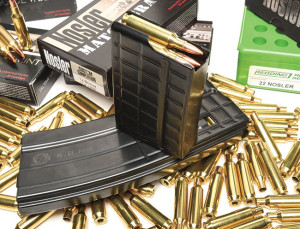 Save for rebarreling, building a .22 Nosler from standard AR-15 components is a piece of cake. While .223/5.56 magazines won't work, those designed for the 6.8mm Rem. SPC will.