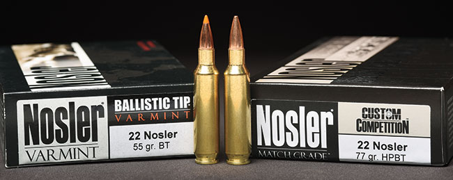 The initial offerings will be a 55-grain Ballistic Tip Varmint for hunters and a 77-grain Custom Competition round for competition and long-range shooters.