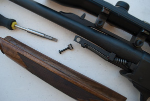 Single-shots can be accurate, but the separate fore-end complicates things. The Ruger No. 1's fore-end attaches to a forward extension of the ejector spring housing.