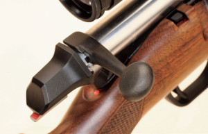 Unlike the bolt unlock button on the X-Bolt, which is on the bolt itself, the AB3's button is on the receiver forward of the bolt. The rifle sports loaded-chamber and cocking indicators and a flattened bolt handle.