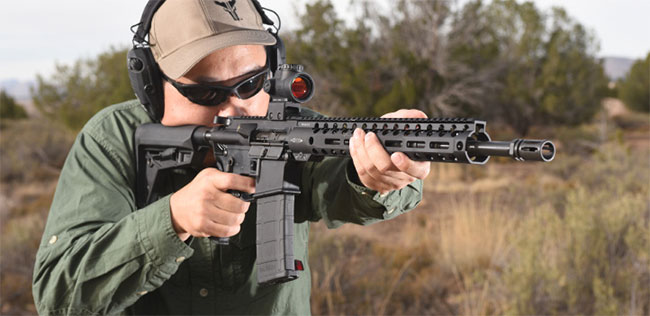 The Combat Unit Carbine is a modern take on the AR-15 with a mid-length gas system.