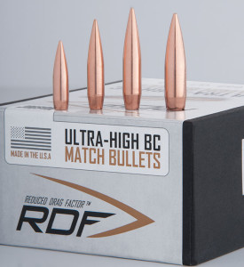 Nosler's RDF bullet is initially available in four versions. From left: 70-grain .224, 105-grain 6mm, 140-grain 6.5mm, 175-grain .308.