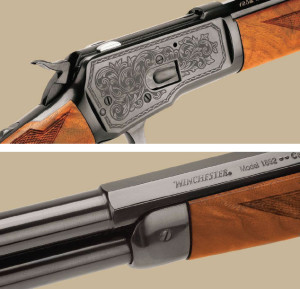 Winchester's anniversary 1892 is a near-custom version of the venerable lever action with ornate laser engraving on the receiver sides and bordered point checkering. Wood-to-metal fit was excellent, and this model features a half-octagon, half-round barrel.