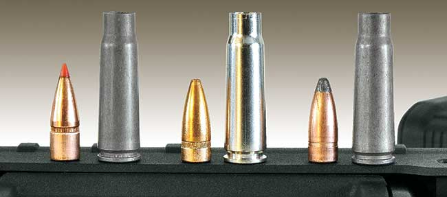 The 7.62x39 was always effective, but improvements in bullets like the Hornady SST (l.) and Winchester PDX1 Defender (c.)make it even better. And there are still plenty of economical choices like Wolf's soft point (r.).