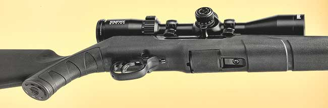 The A22's fore-end is relatively wide and flat, making it stable from a rest but still comfortable for offhand.
