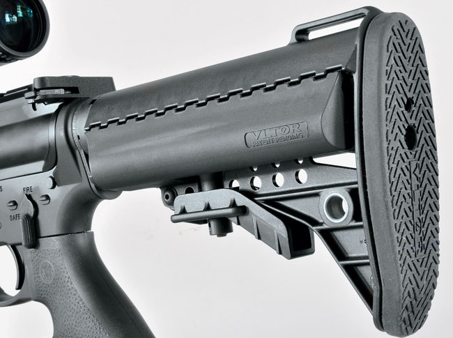 The rifle's heavier-than-GI barrel is nicely balanced by the Vltor IMod six-position stock. One thing Tarr wishes the company had done was include an upgraded charging handle.