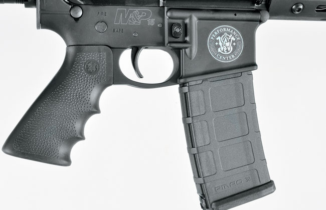 The Performance Center opted for a Hogue overmolded pistol grip, and the best part of the gun might be its clean-breaking two-stage trigger with a pull weight of less than four pounds.