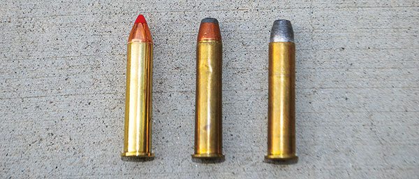 L.-r.: Hornady's 250-grain Monoflex is fast, low in recoil and suitable for use in lead-free zones. Winchester's 300-grain jacketed hollowpoint is excellent for medium-size game, and Garrett's 420-grain Super Hard-Cast is intended for big, tough critters.