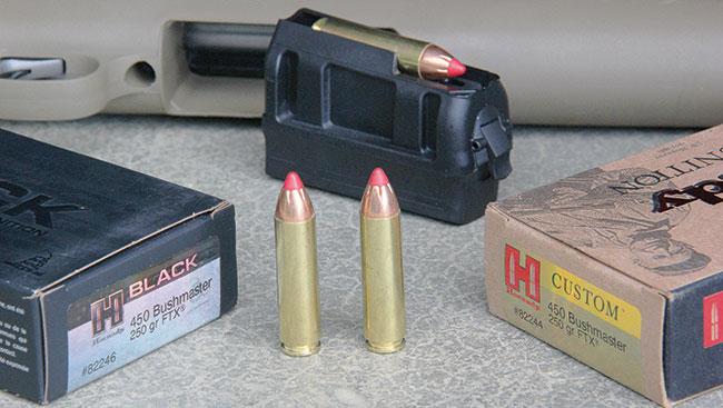The .450 Bushmaster is an effective cartridge out to 200 yards for deer and would be great closer in for hogs and black bears. Ammo offerings are on the slim side—for now, at least.