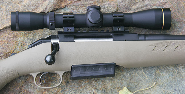 Unlike the standard American, the Ranch version in .450 features a single-stack box magazine that protrudes from the belly of the lightweight, flat dark earth stock.
