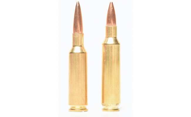 Both the .224 Valkyrie (l.) and the .22 Nosler are roughly based on the same 6.8 Rem. SPC case, but the Valkyrie was designed to handle heavy, 100-grain bullets.