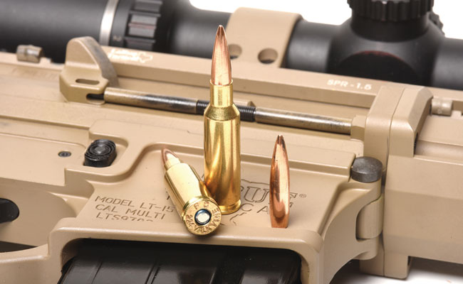The new .224 Valkyrie from Federal fits nicely into 6.8mm SPC mags, and it's able to handle super-long, heavy-for-caliber bullets for great downrange performance.