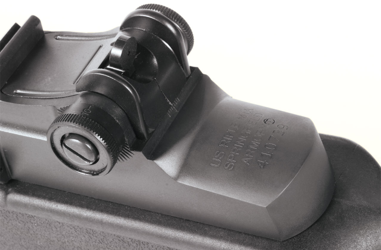 Iron sight shooters are treated to a National Match adjustable aperture rear with ½-m.o.a. windage adjustments and one-m.o.a. elevation adjustments. The front is a National Match post.