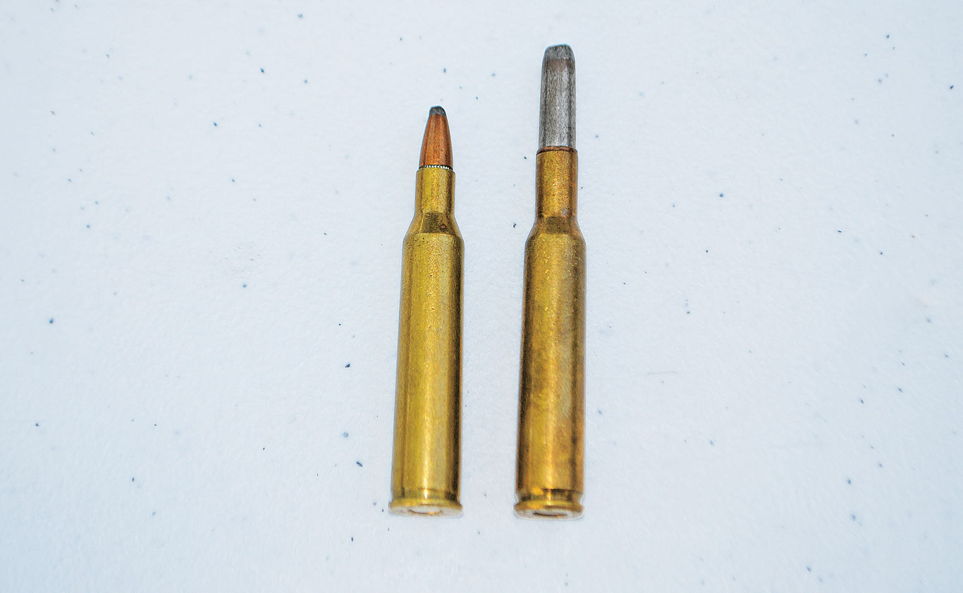 The 6mm Rem. (l.) was based on the 6mm Lee Navy (r.) while the competing .243 Win. had the .308 Win. as its parent. These heritages spelled success for the .243 and relative obscurity for the 6mm.