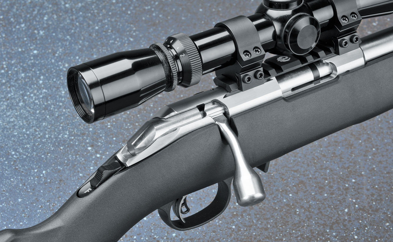 The action features an oversize bolt knob and a short bolt throw for easy operation. The safety is a two-position tang, and the gun features the Ruger Marksman Adjustable trigger.