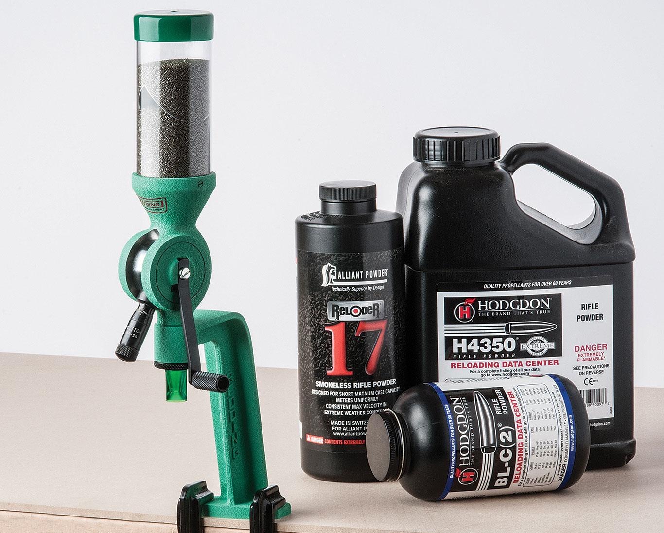 Redding's PR-50 volumetric measure provides benchrest-grade consistency with most propellant granule types.