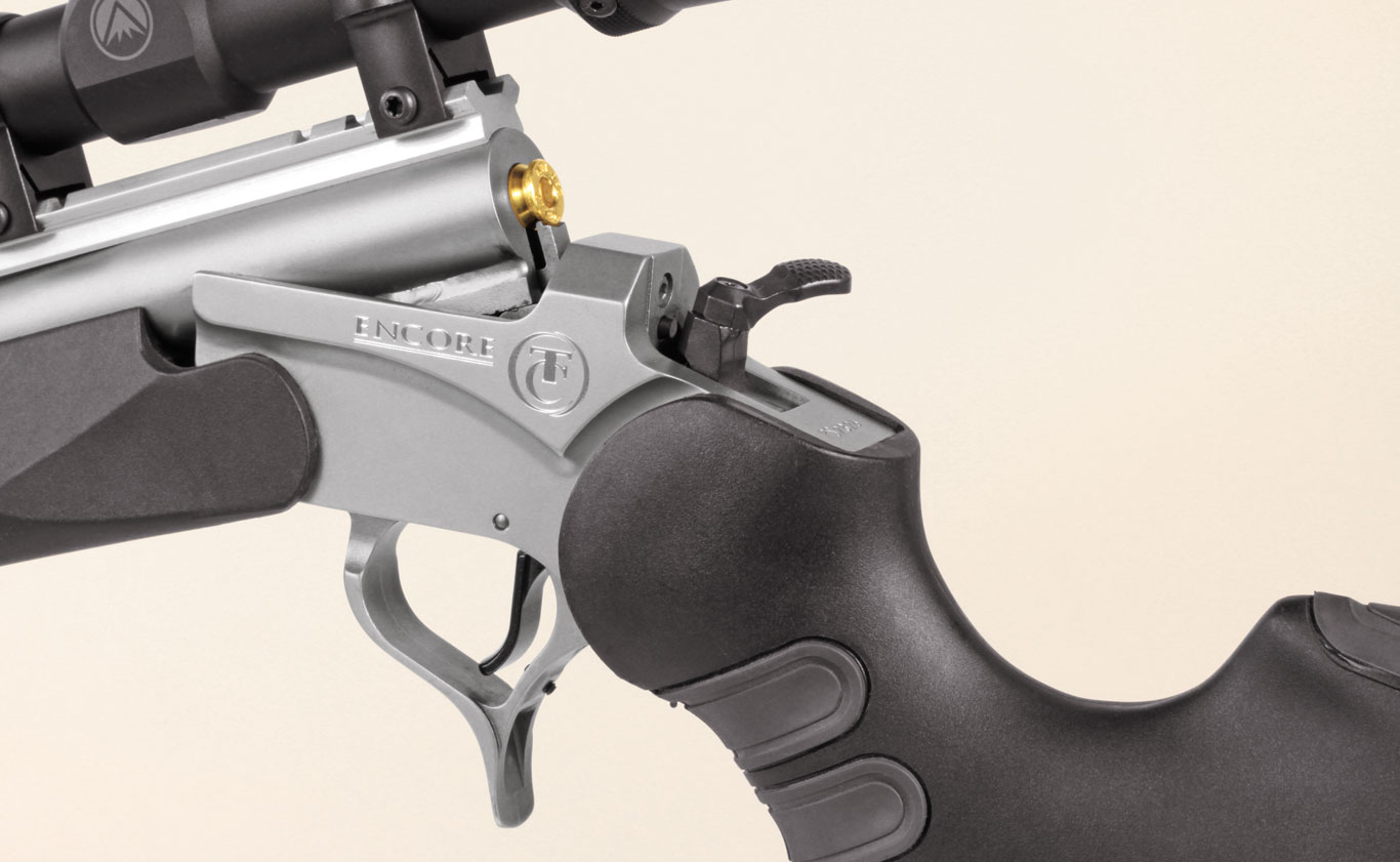 The Encore is a break-action single-shot that makes switching calibers a breeze. The Pro Hunter has a hammer that can be swung 90 degrees for easier manipulation with a scope installed, and synthetic panels in the grip and inserts in the stock make it soft shooting.