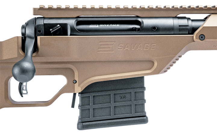 The heart of the rifle is Savage's 10/110 action, but what sets it apart is the billet aluminum chassis stock. This model feeds from a single-stack mag and features a paddle release.