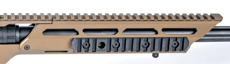 The chassis' Picatinny rail is 18 inches long and features 20 m.o.a. of adjustment. Two rail sections and a sling swivel stud provide lots of bipod attachment options.
