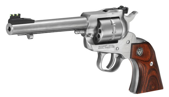 Ruger's .22 LR stainless-steel Single-Ten comes with a 10-shot cylinder, 5.5-inch barrel, Williams fiber-optic adjustable sights, and smooth walnut Gunfighter grips.