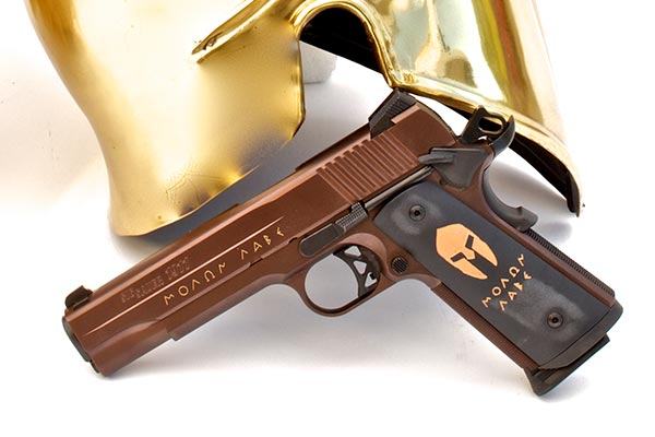 The SIG M1911 Spartan comes with a truly unique oil rubbed bronze Nitron finish on both the slide and frame, with the slide featuring 24kt gold inlay engraving.