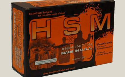 The HSM Double Duty combo pack contains 250 rounds of lower-cost, remanufactured ball ammunition
