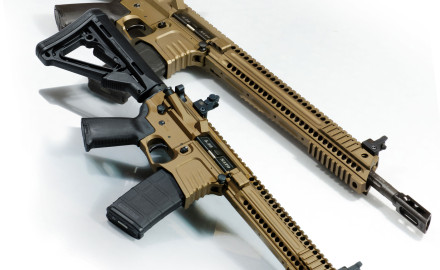 The Yankee Hill Machine Model 57 rifle features machined upper and lower receivers, a fluted