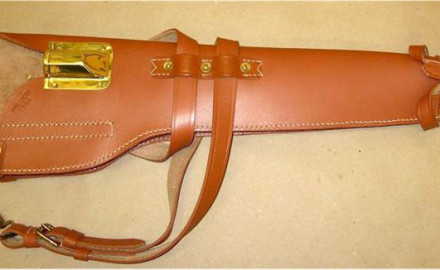 Finely crafted from russet leather this quality repro WWII M1 Carbine scabbard includes brass