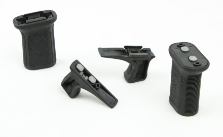 Designed to complement modern shooting grips, the Kinesthetic Angled Grip (KAG) uses a
