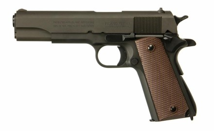 This faithful copy of the .45ACP caliber 1911A1 Government Model pistol is being produced by Inland
