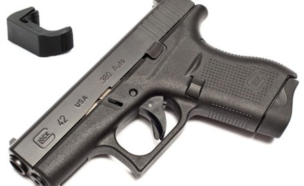 These extended magazine releases for the .380 caliber Glock 42 subcompact pistol are easy to