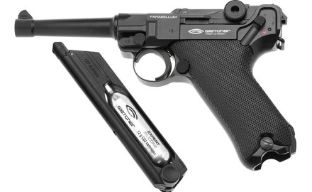 The Gletcher Parabellum Co2 Pistol is a premium air pistol that reflects the weight and size of the highly sought after original.