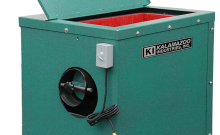 The Kalamazoo Industries KVF3 large capacity vibratory finisher is great for cleaning and polishing