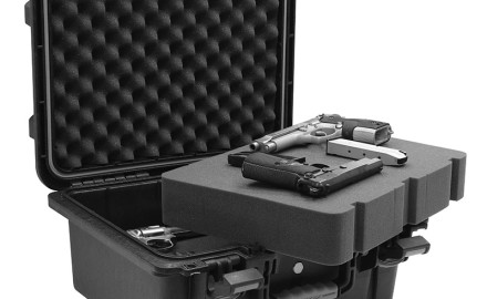 These double density foam lined cases from Plano feature extra wide latches, a heavy duty gasket