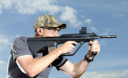 Few rifles are as recognizable as the Steyr AUG. The A3 version sports a flattop rail so the