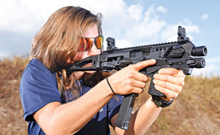 Can a Glock pistol effectively fill the role of a Personal Defense Weapon? Perhaps says Fortier, if it is outfitted with a shoulder stock or CAA's Micro Roni.