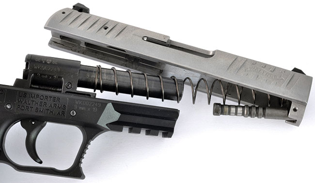 Walther started out making pistols with steel frames (such as the Walther  PPK), but every new design they've had in the last twenty years has featured a polymer frame. Their latest is the CCP, seen here, meant for the concealed carry crowd. It is an odd combination of the new (polymer frame) and the old (fixed barrel, gas piston) and has been very successful.