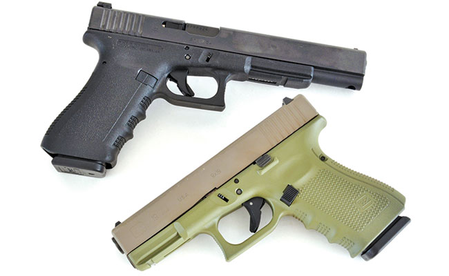 The 17L (top) is physically Glock's largest 9mm, while the Glock 19 has been its biggest-selling 9mm. This G19 is a Davidson's Gallery of Guns exclusive.
