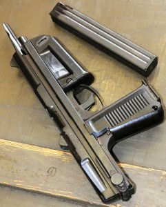 Pioneer Arms  also plans on  importing a semi- automatic pistol  variant of the Polish  RAK submachine gun, seen here with stock  collapsed and grip folded.