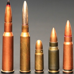 The Soviet 7.62x25mm cartridge, seen here with other influential designs: 7.62x54mmR, 6.5x50mmSR as used in Fedorov's Avtomat, 7.62x25mm, 7.92x33mm Kurz, 7.62x39mm.
