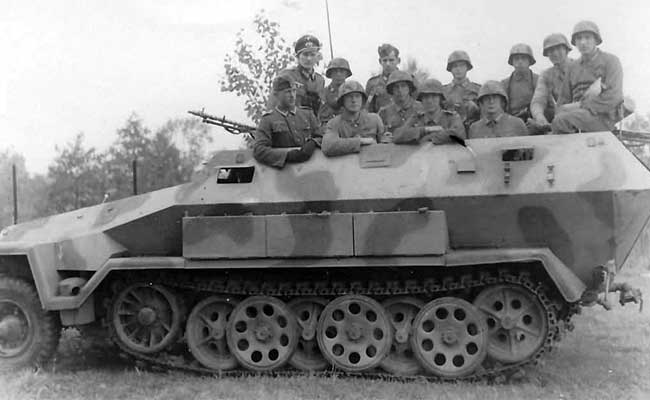 The Sd.Kfz. 251 could transport its 2 man crew plus a squad of infantry and all their gear.