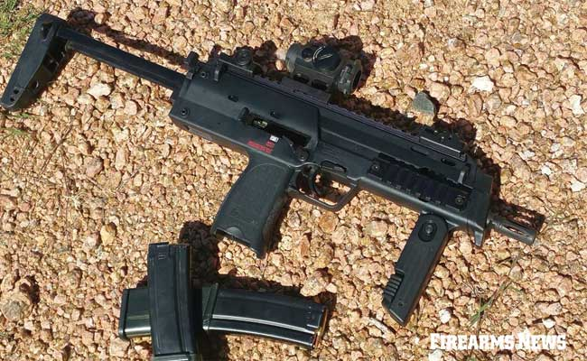 The MP7, seen here with stock extended and red dot sight mounted, is very light and compact making it easy to carry discreetly.